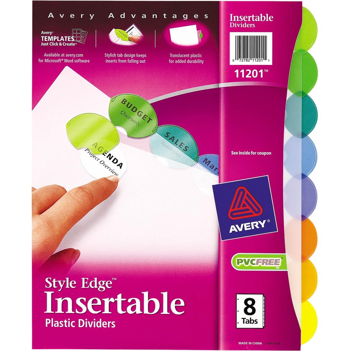 Avery Insertable Style Edge Tab Plastic 11 X 8 12 Dividers 8 Tab