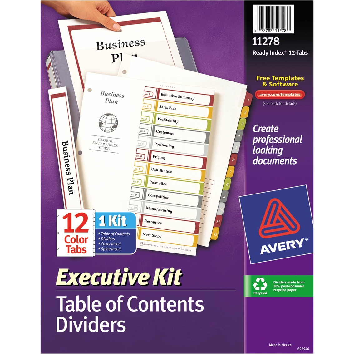 Avery Ready Index Customizable Executive Table Of Contents Letter
