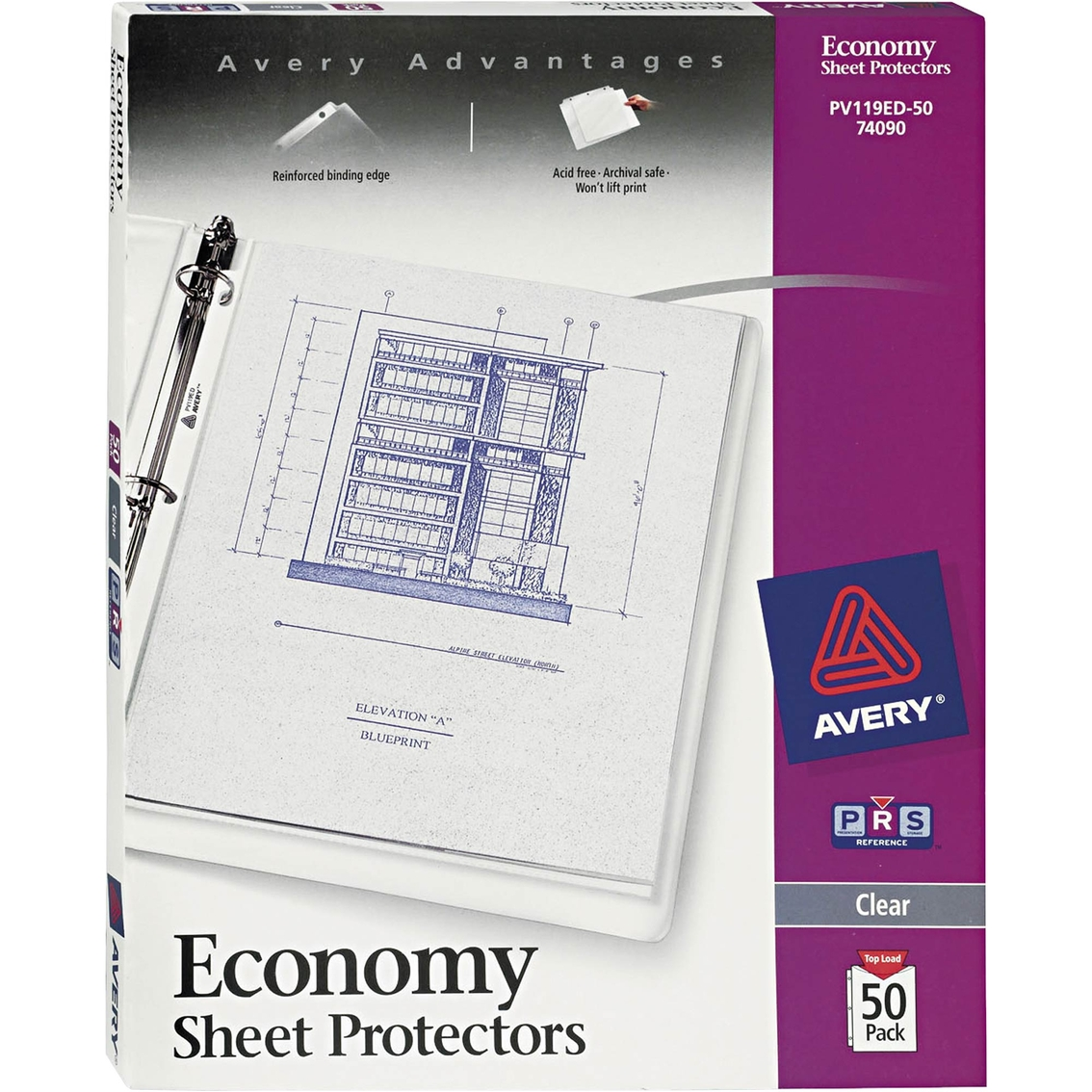 avery economy weight letter size sheet protector 50 pk binders