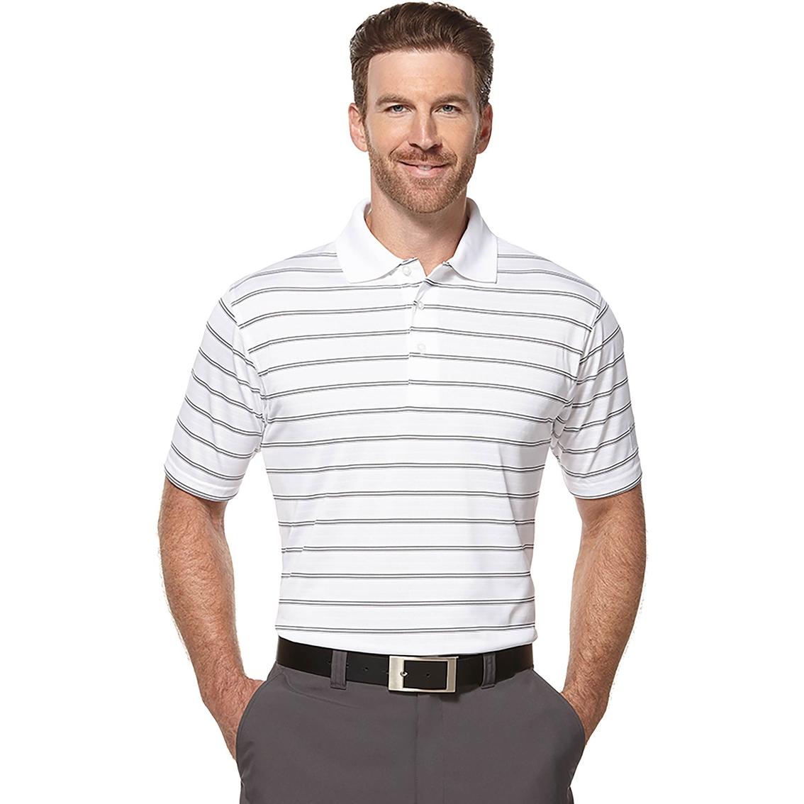 pga tour golf performance airflux three color stripe polo
