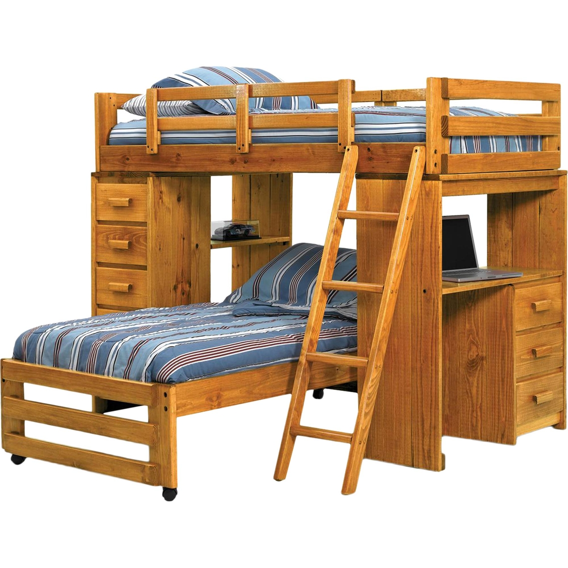 Chelsea Home Furniture Twin Over Twin Loft Bed With Desk End Juvenile Beds Shop The Exchange