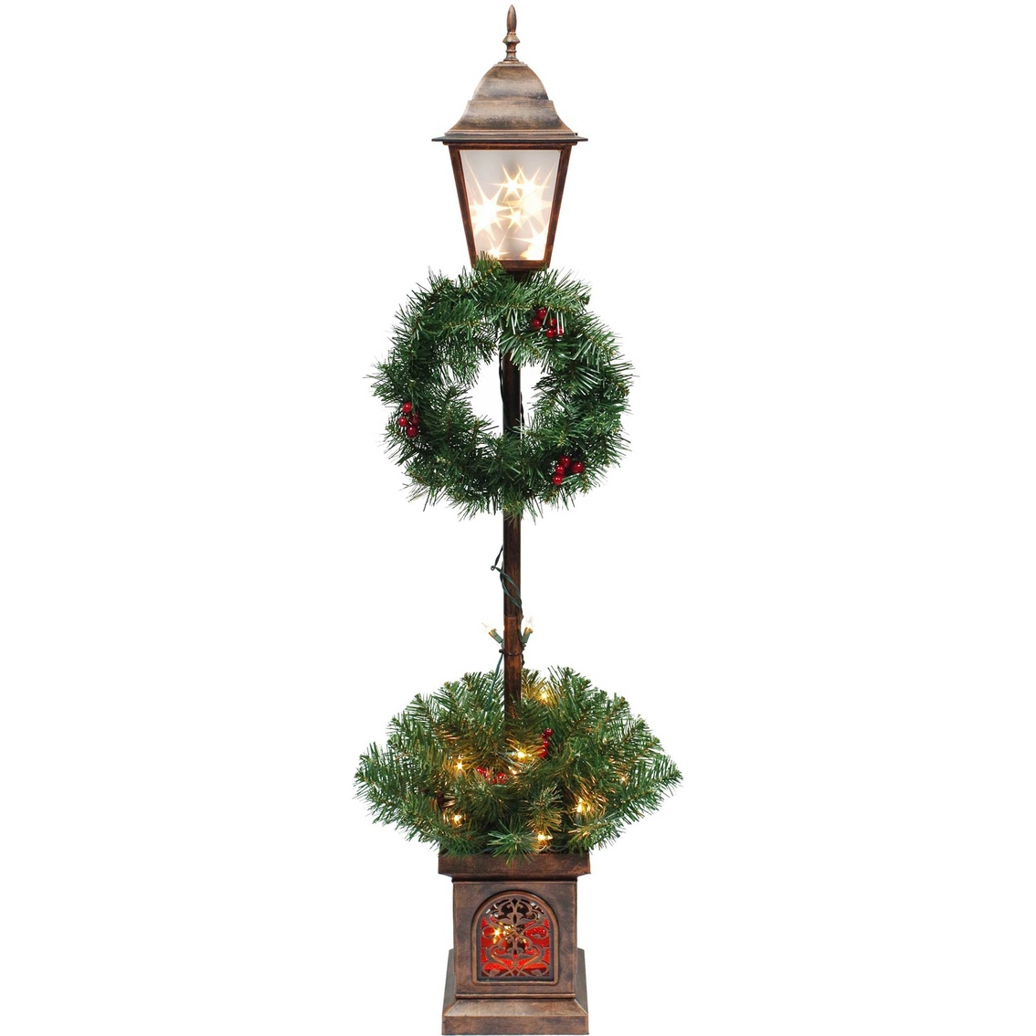 Puleo 4 ft lighted plastic holiday lamp post yard for Christmas decorations for outside lamp post