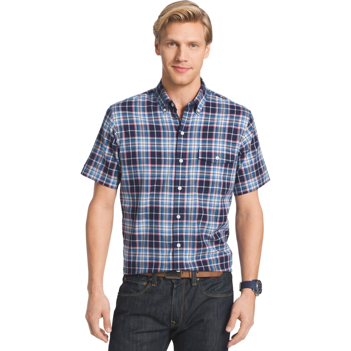 Izod sportswear dockside chambray plaid button down shirt for Izod button down shirts