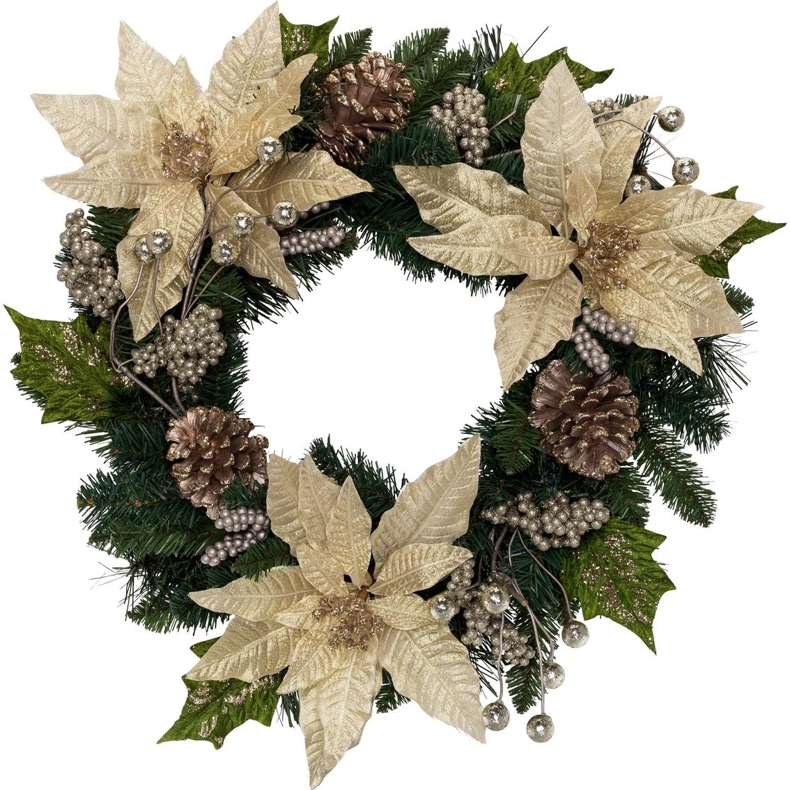 24 Inch Poinsettia Wreath Outdoor Decor Shop The Exchange