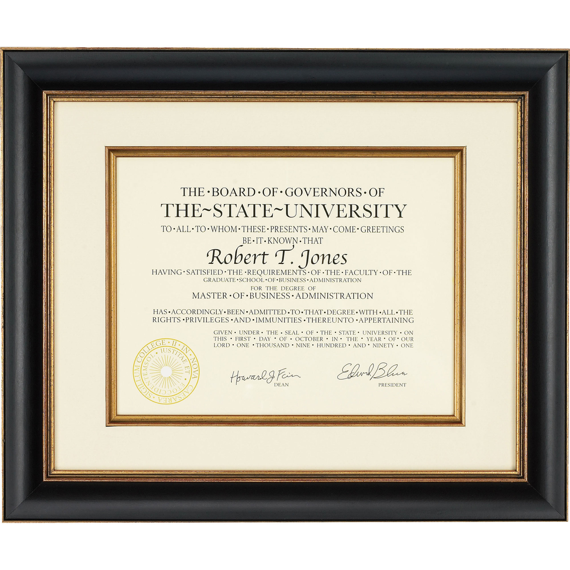 Artcare 12 X 15 Tuscan Black And Gold Document Frame Frames Home