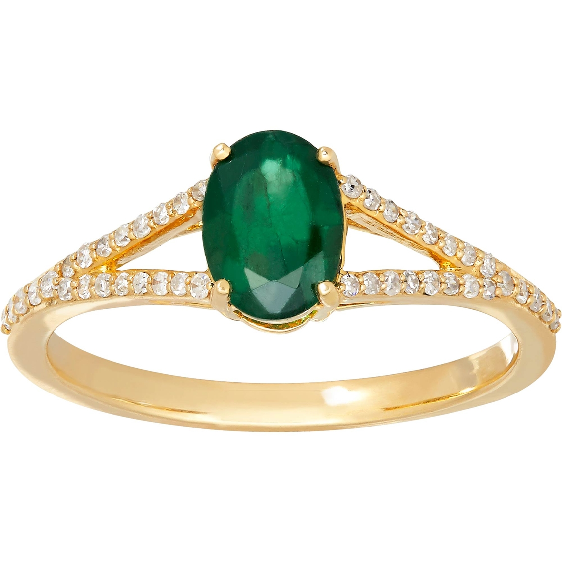 10k Yellow Gold Oval Emerald And Diamond Ring