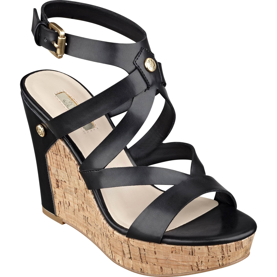 2ad449db50d6 Guess Harlee Cork Platform Wedge Sandals