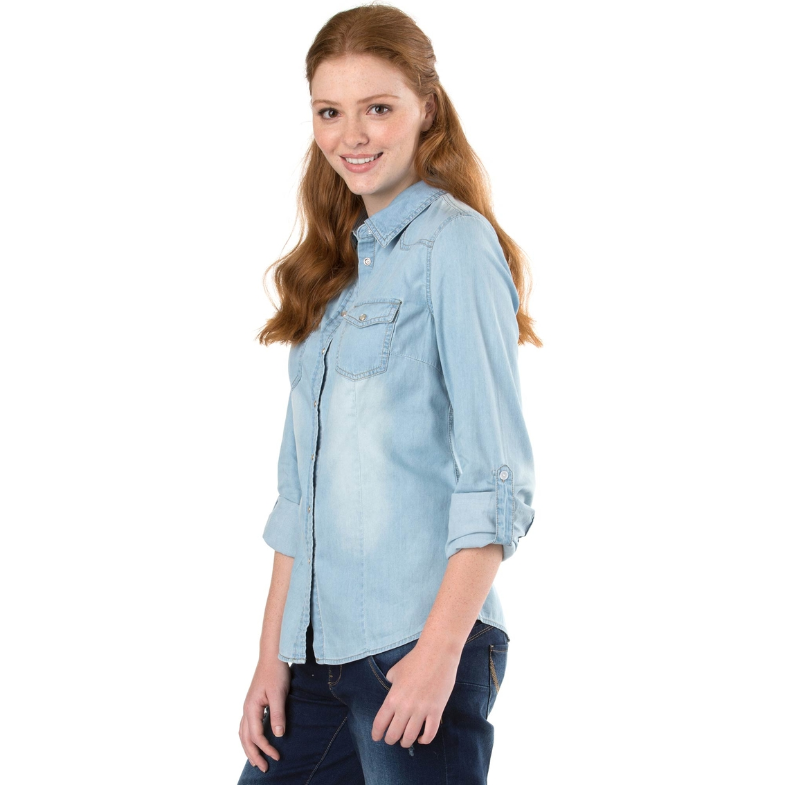 92360372669 Ymi Jeans Juniors Chambray Top | Juniors' Apparel | Shop The Exchange