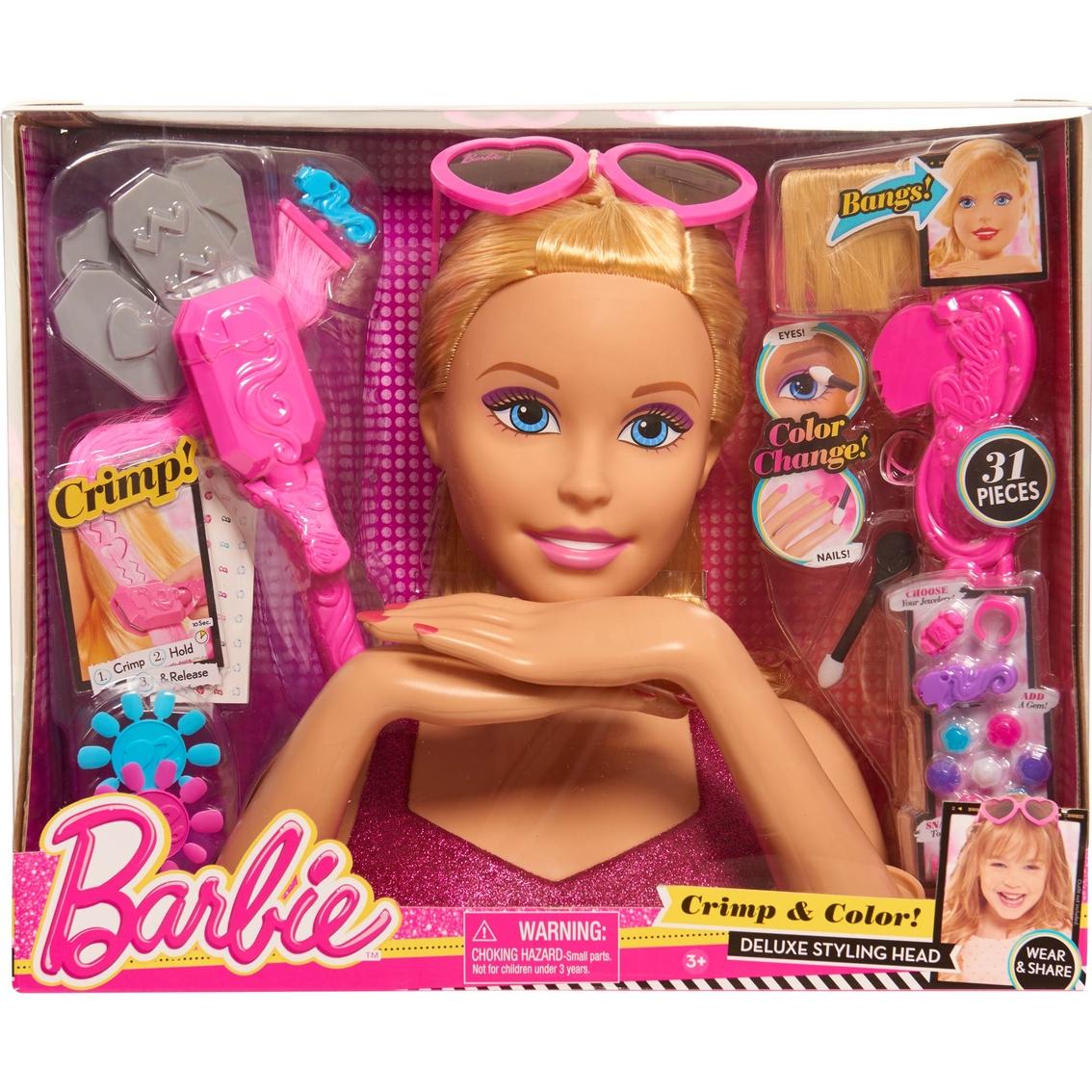 6pcs Random Mattel Barbie Styling Makeup Head Multi Colored Hair Girl Toys