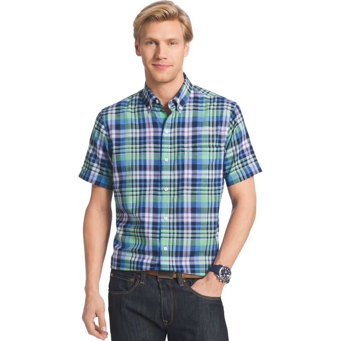 Izod dockside chambray button down shirt casual for Izod button down shirts