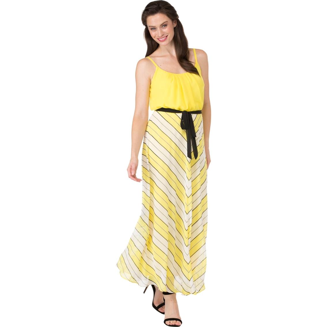 a0b656d986c5 Robbie Bee Solid Top Mitered Stripe Skirt Chiffon Maxi Dress ...