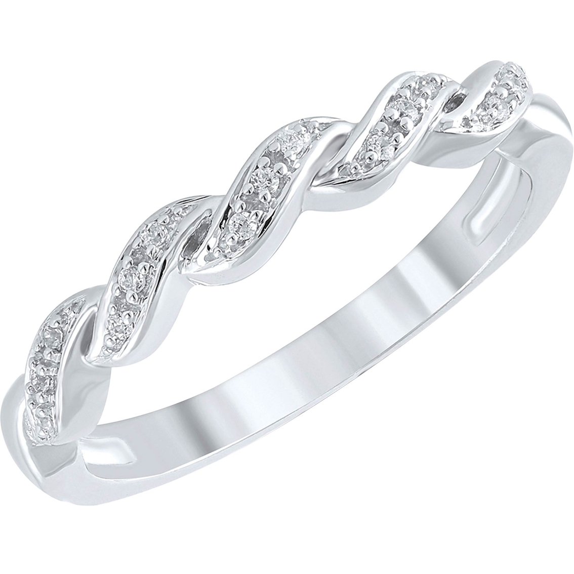 10k white gold accent braided ring size 7