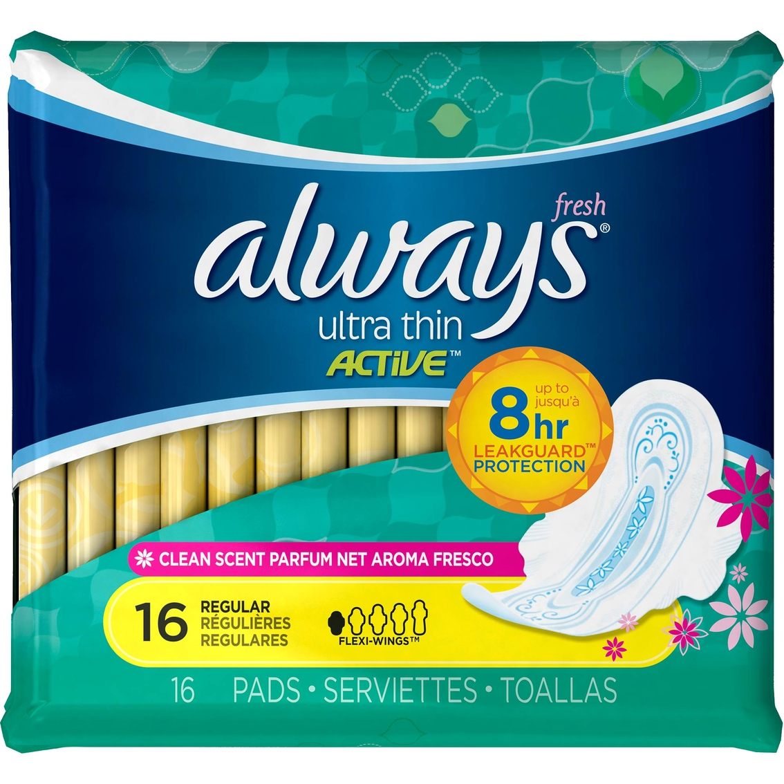 Always Ultra Thin Fresh Active Regular Pads With Wings 16 Ct ...