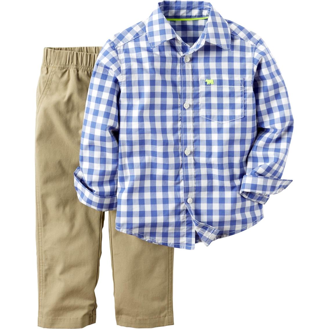 Carters Toddler Boys 2 Pc Blue Check Woven Shirt Khaki Pants Set