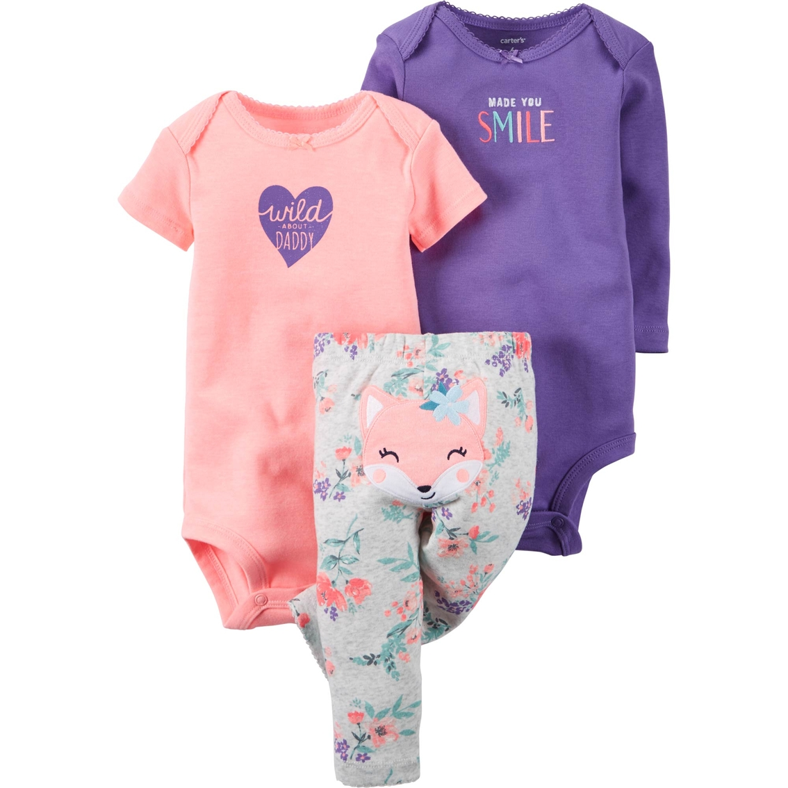 Carter s Infant Girls Fox Bodysuit And Pants 3 Pc. Set  aa5f279f1