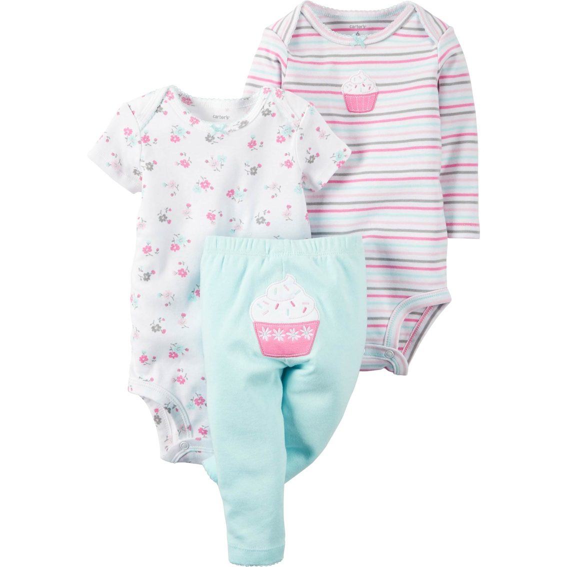 Carter s Infant Girls 3 Pc. Cupcake Bodysuit And Pants Set  ad1c78823