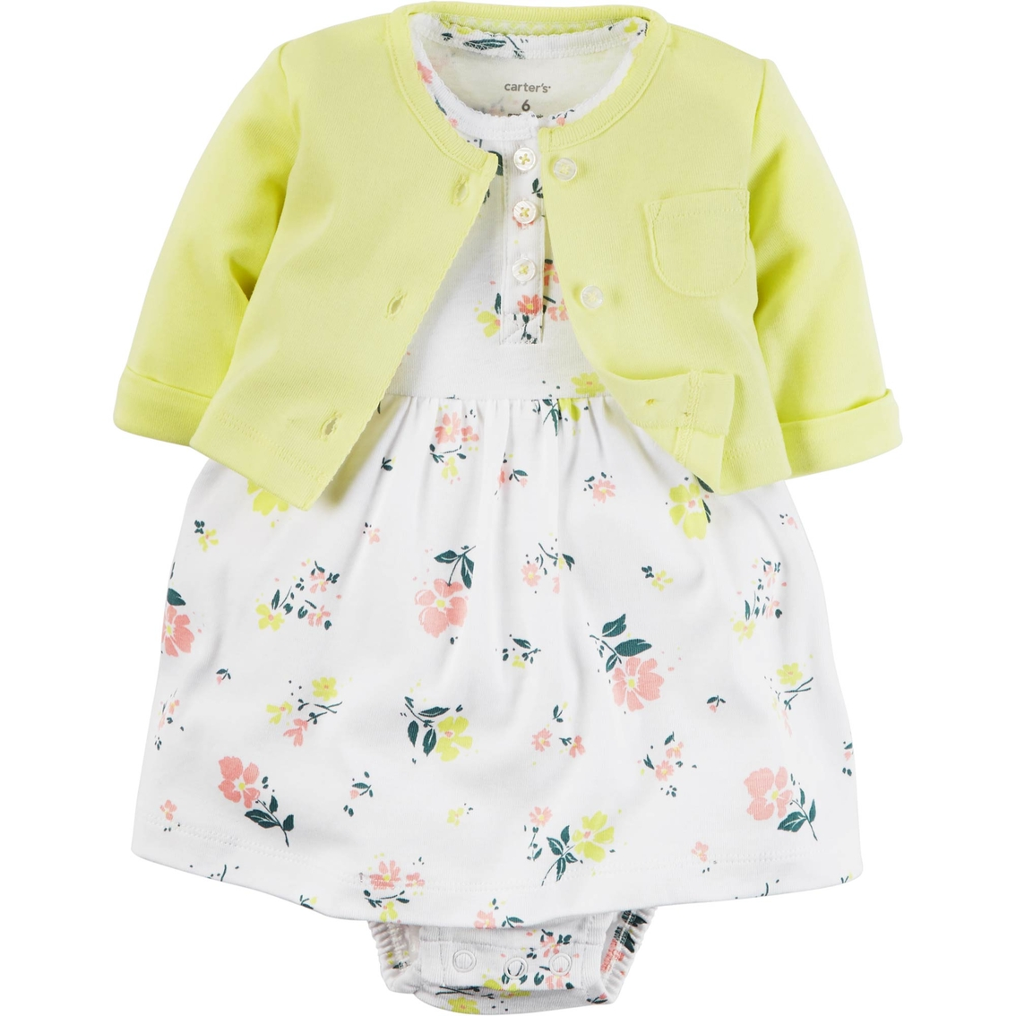 6ae72adb3 Carter's Infant Girls 2 pc. Yellow Floral Bodysuit Dress and Cardigan Set