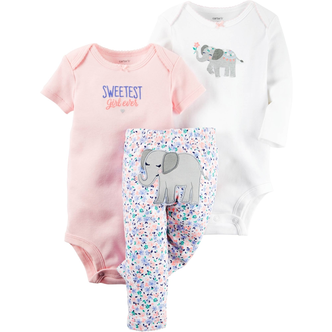 c6aab7dd2e5 Carter s Preemie Girls Little Character Elephant 3 Pc. Set