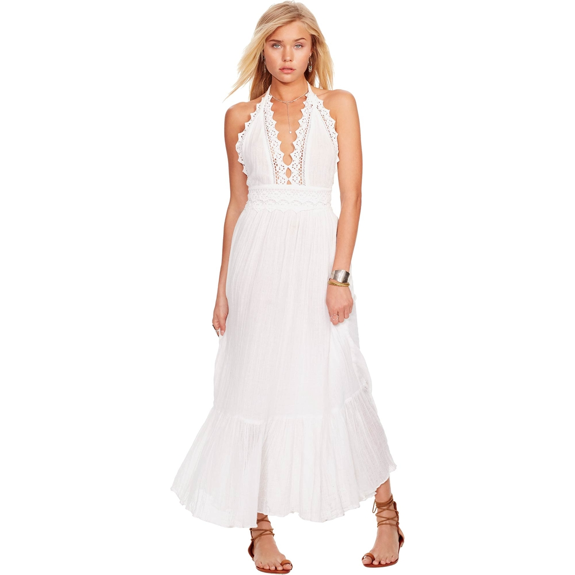 Denim & Supply Ralph Lauren Laguna Beach Lace-trim Gauze Halter ...