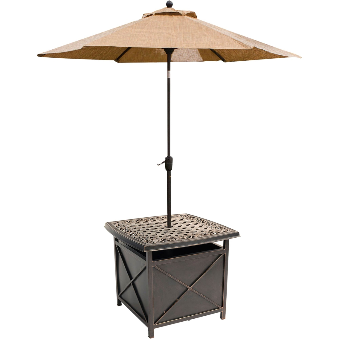 Patio Umbrella Stand Table: Hanover Outdoor Traditions Cast-top Side Table And