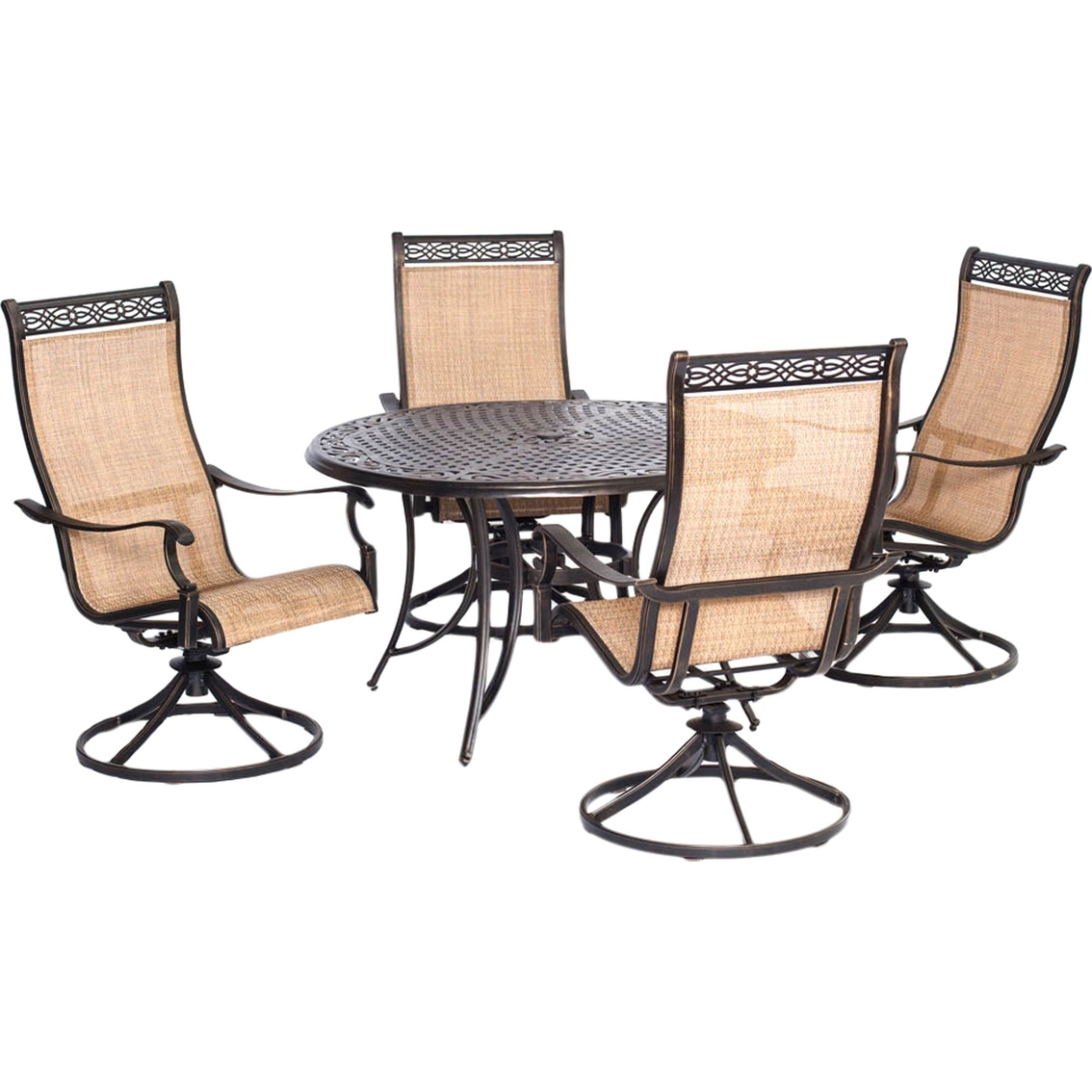 Garden Oasis Providence 5 Piece Swivel Dining Set: Hanover Manor 5 Pc. Outdoor Dining Set With 4 Swivel