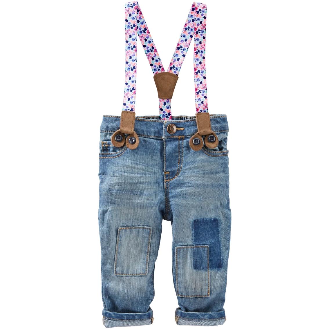 Oshkosh B\'gosh Infant Girls Suspender Denim Pants | Baby Girl 0-24 ...