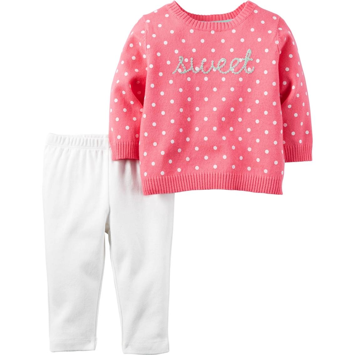 71df039c2 Carter s Infant Girls Sweater Sweet Pink Dot White Pants 2 Pc. Set ...