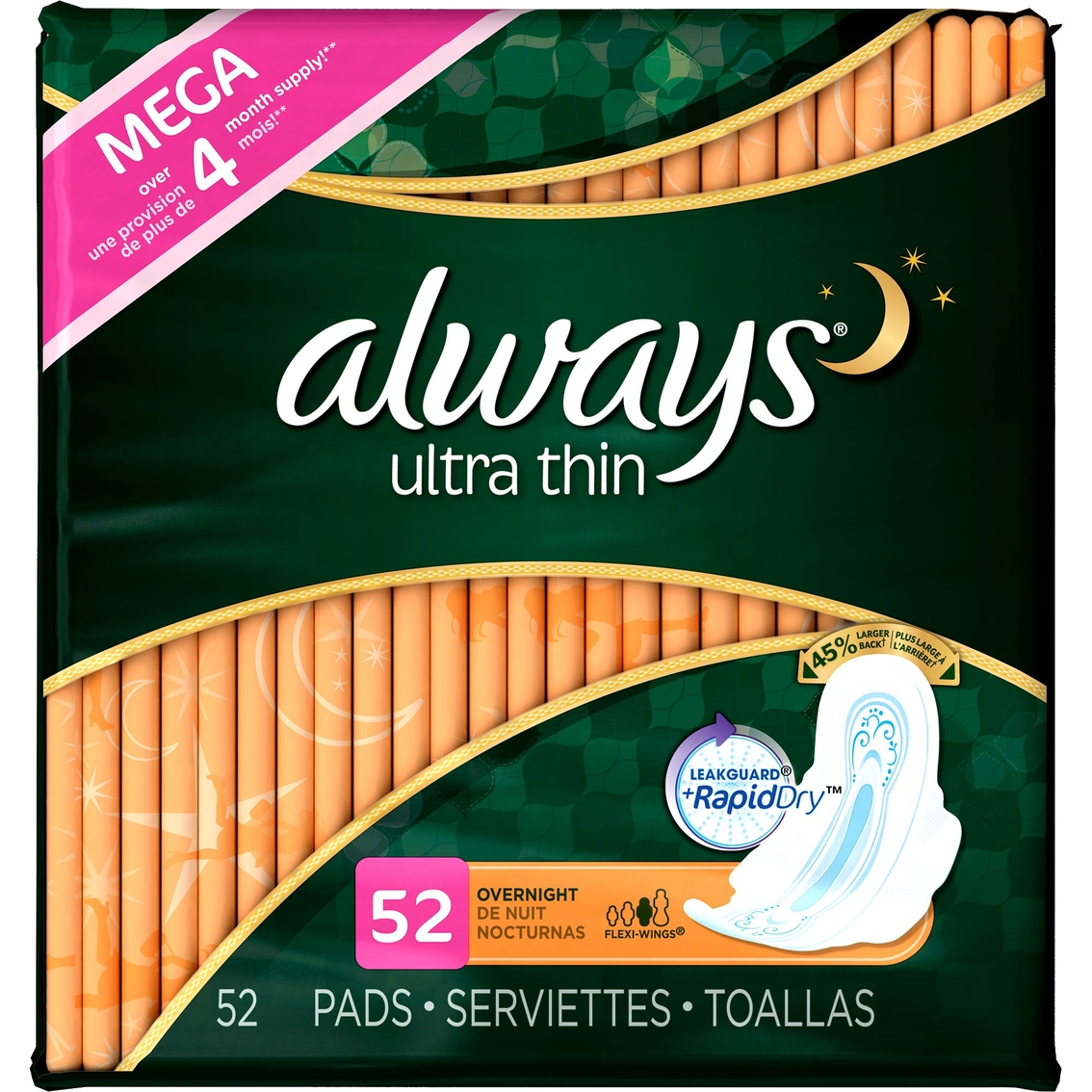 Always Ultra Thin Overnight With Wings Pads 52 Ct.   Feminine ...