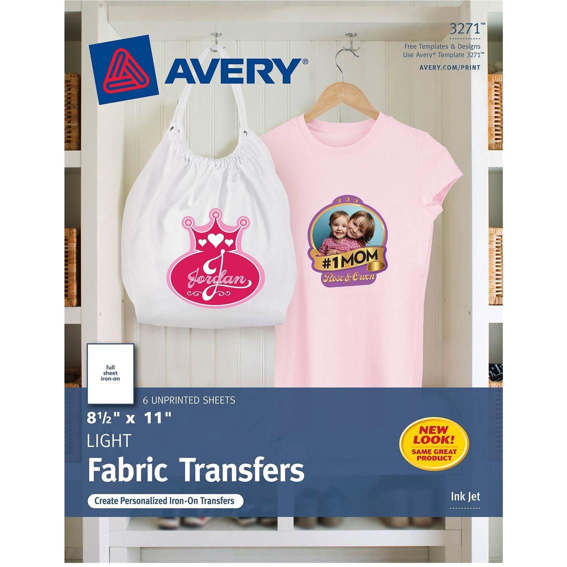 Avery Tshirt Transfers For Inkjet Printers 85 X 11 In 6 Pk