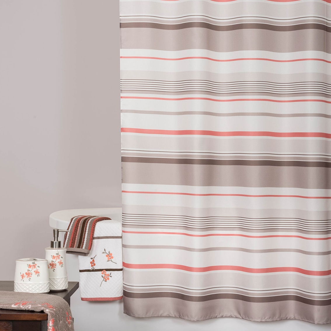 Saturday knight coral garden stripe shower curtain