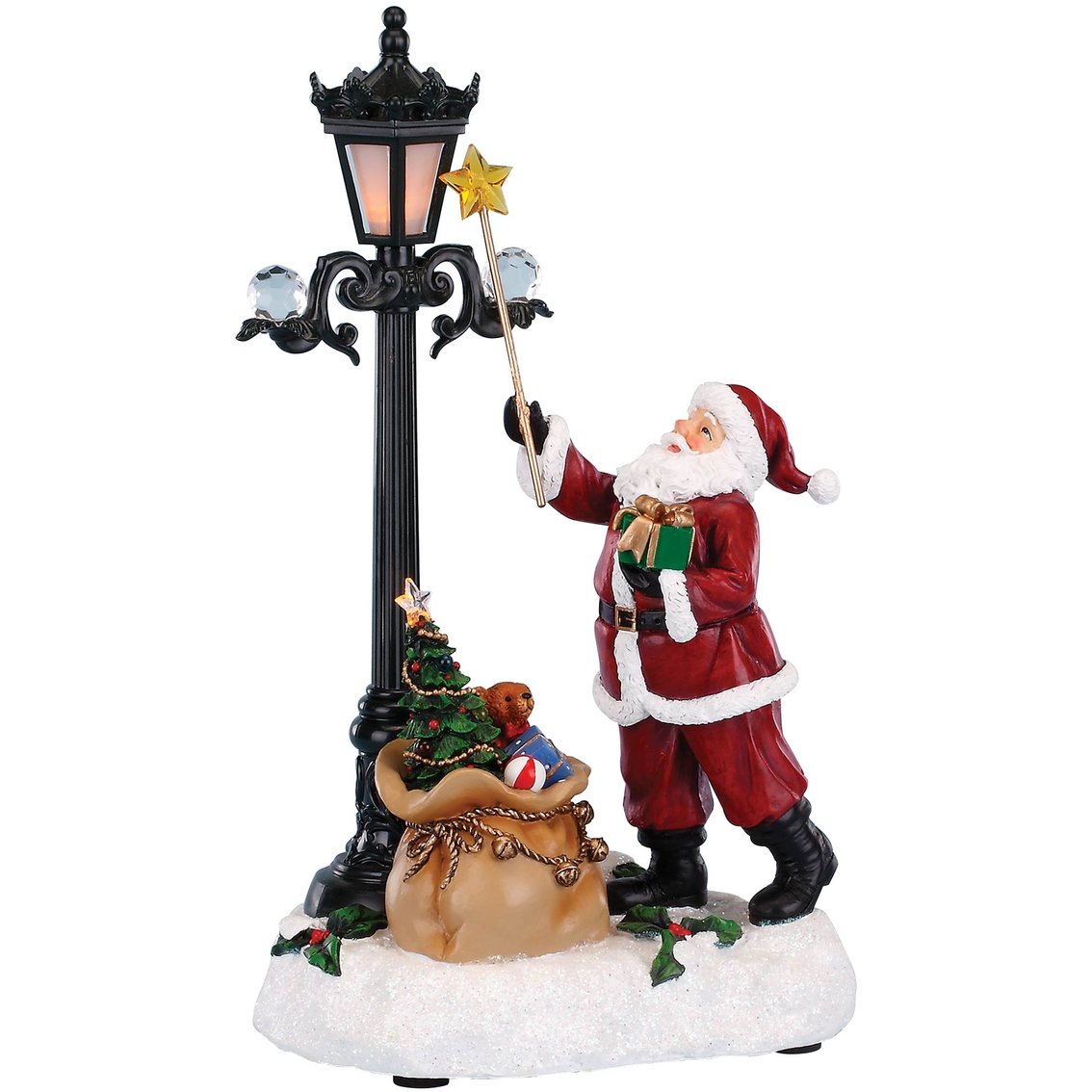 Roman musical light up santa lighting lamp figurine