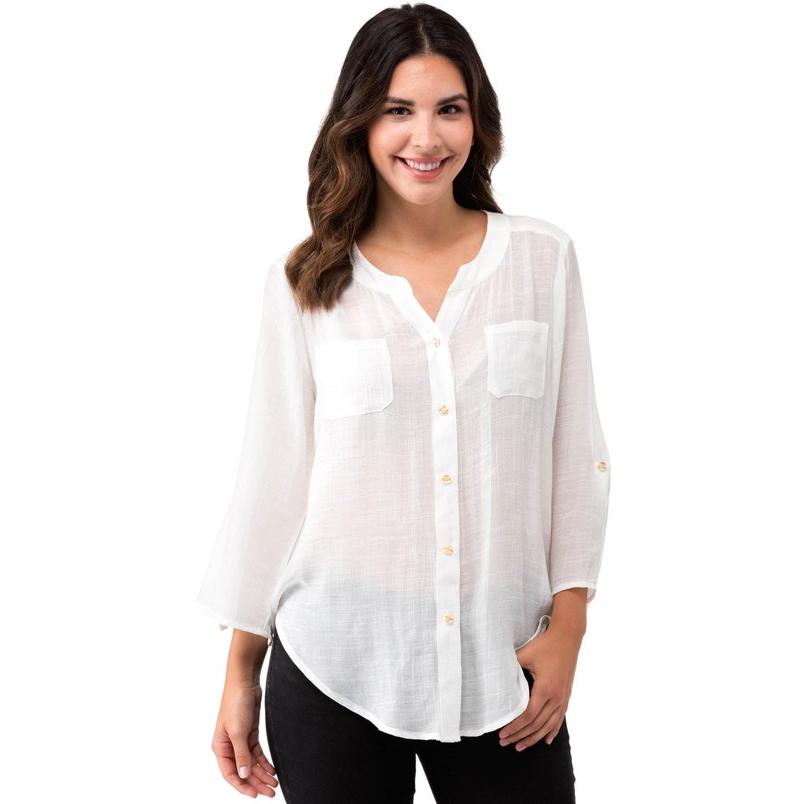 Agb Solid Gauze Tab Collar Shirt Blouses Tunics Apparel Shop