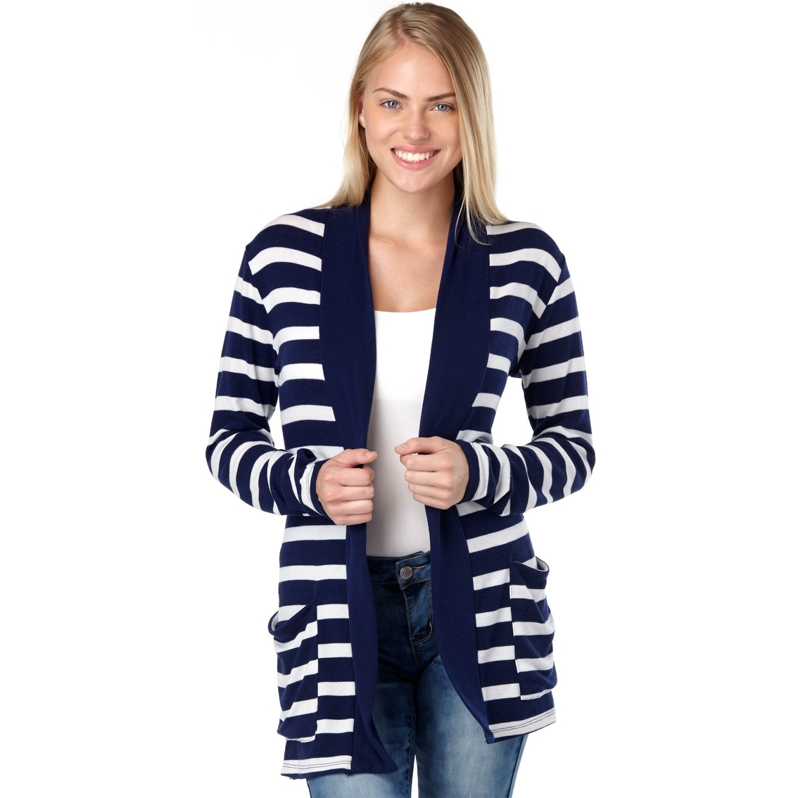 Poof Juniors Striped Knit Cardigan Sweaters Apparel Shop The