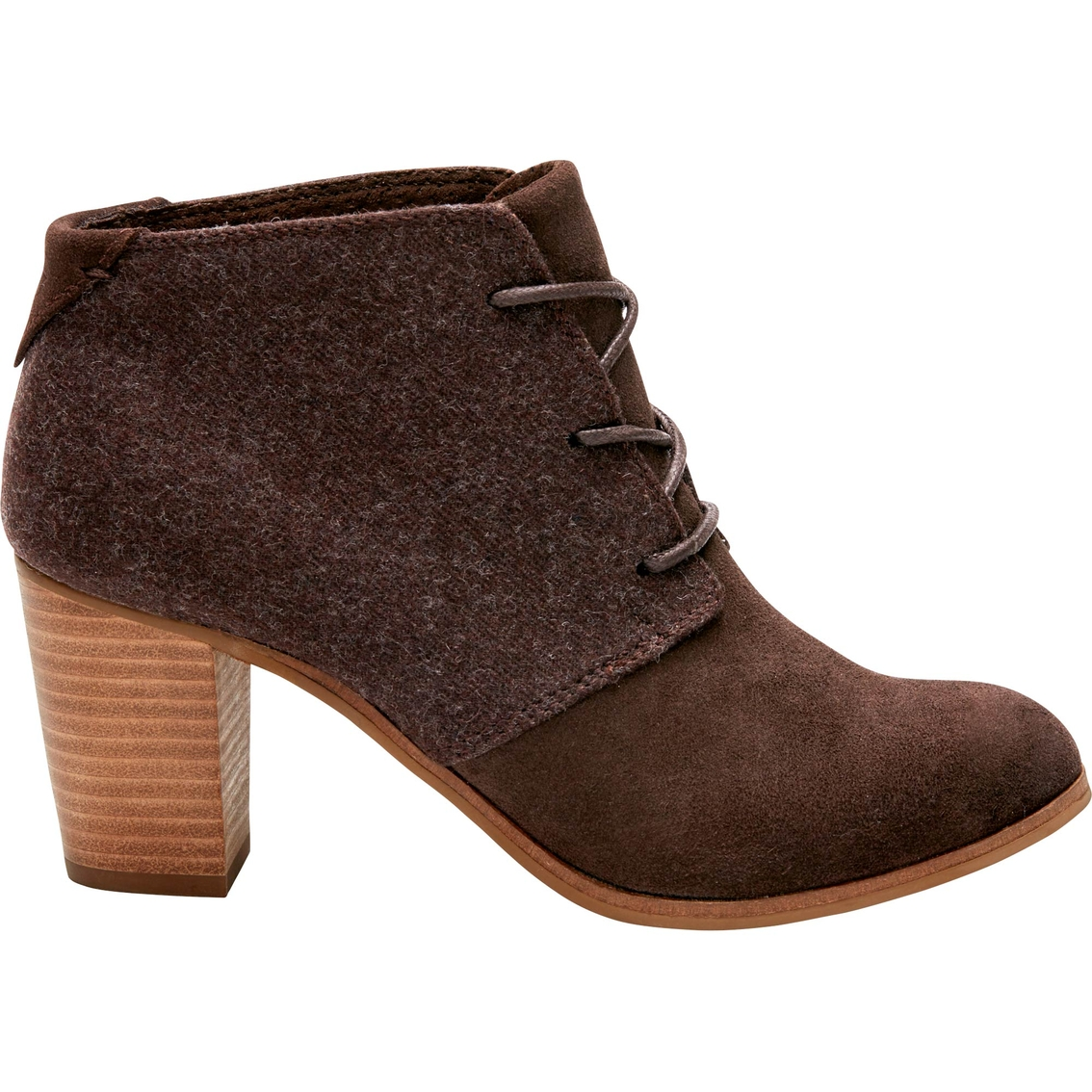 9b6bf795585 Toms Lunata Suede wool Lace-up Bootie