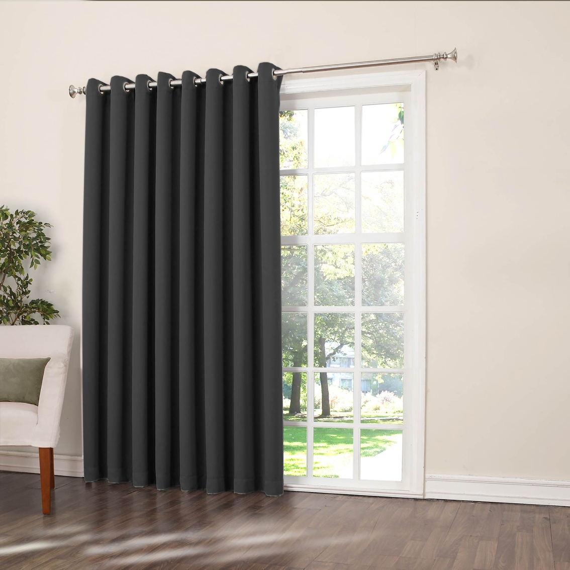 sun zero gramercy grommet room darkening patio curtain panel 100 x 84 - Room Darkening Curtains
