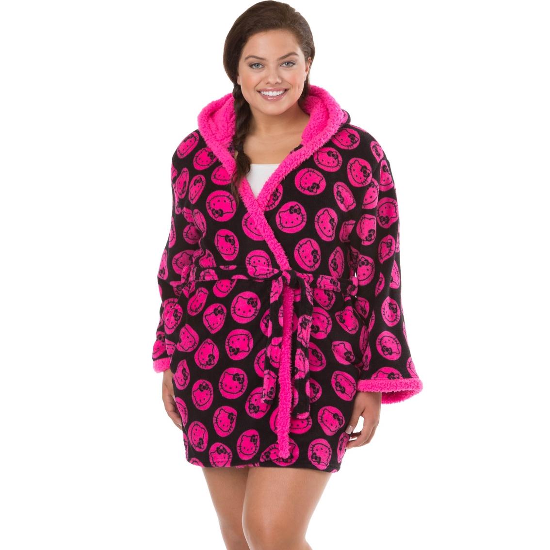 010577800 Hello Kitty Plus Size Kimono Style Robe with Hood, Black and Hot Pink