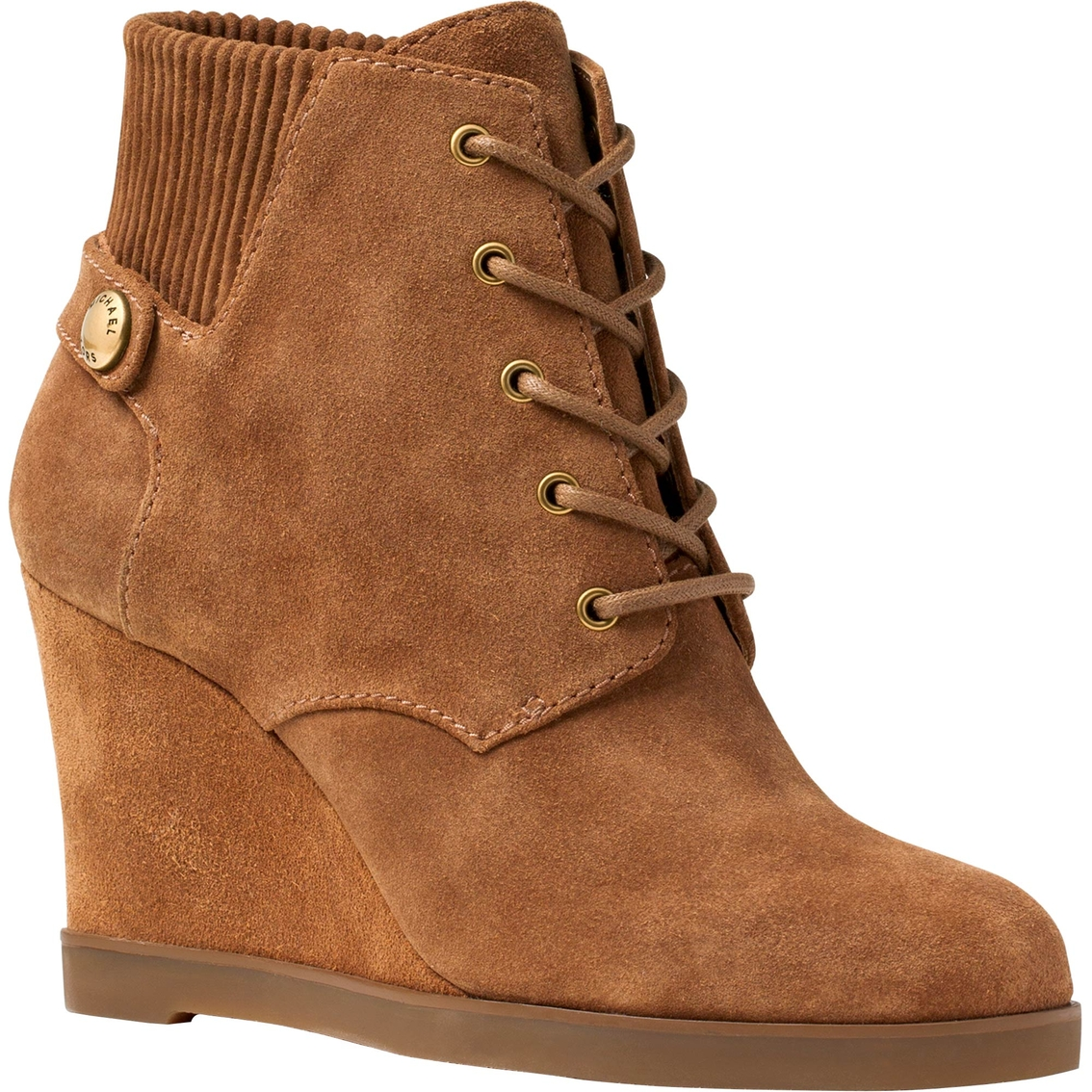 michael kors carrigan lace up suede wedge boots booties