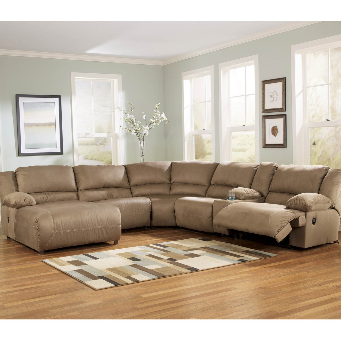 Ashley hogan sectional with two recliners and left arm for Ashley hogan chaise