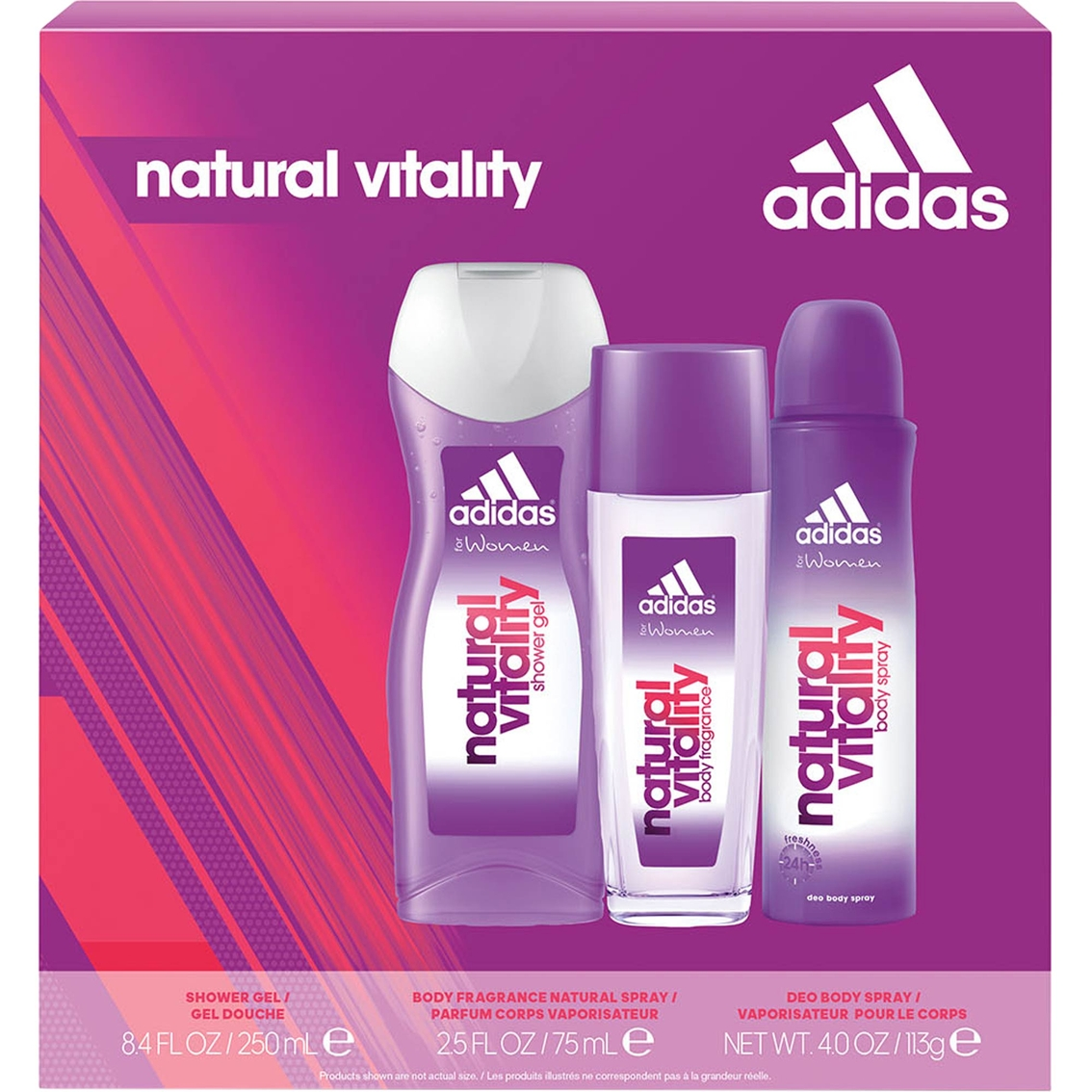 Adidas Natural Vitality For Her 3 Pc Gift Set Body Bath Gift