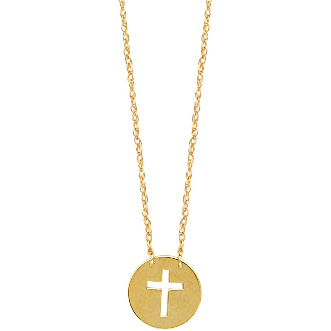 ebd58672ab42 14k Yellow Gold Mini Disk Cutout Cross Necklace | Gold Necklaces ...