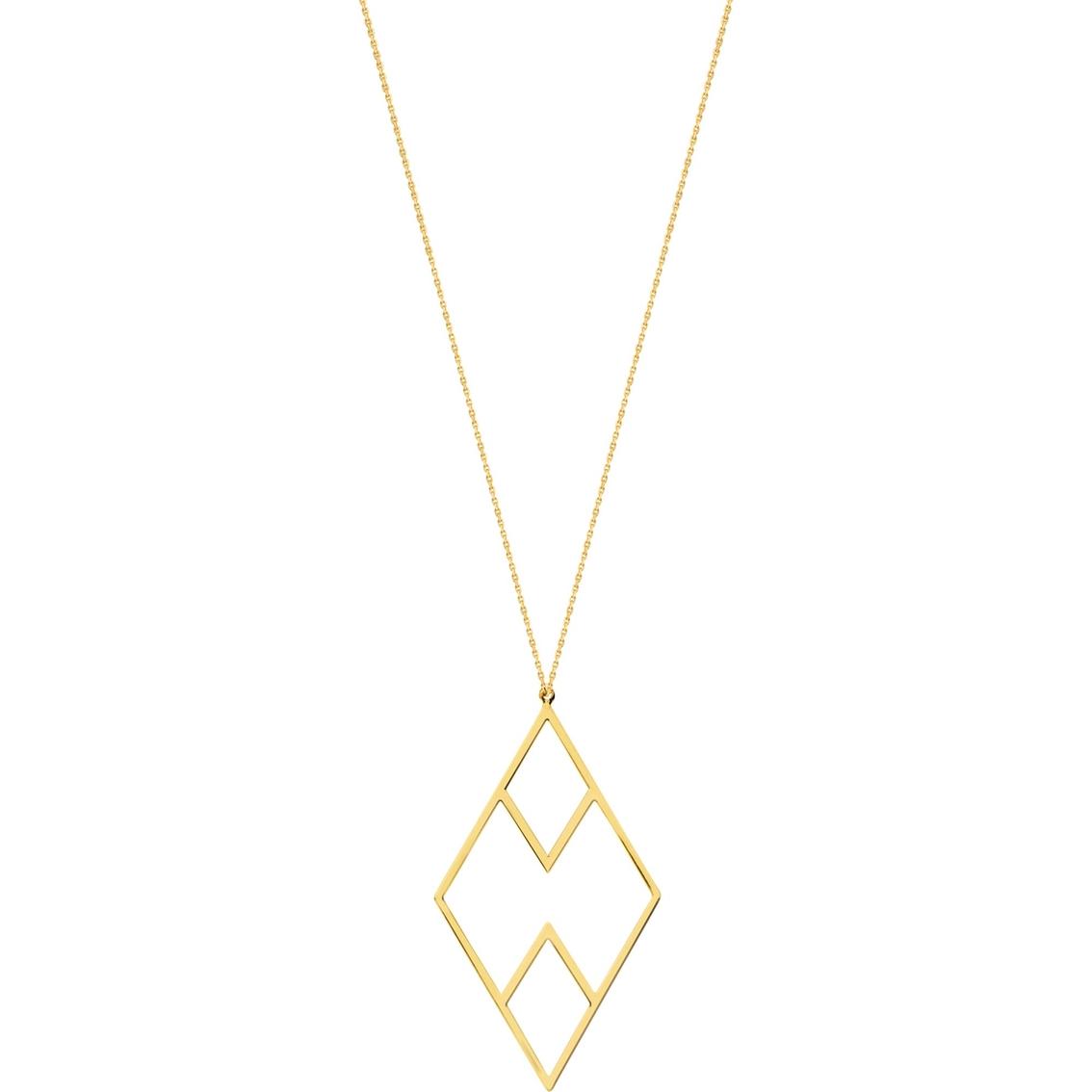 14K Yellow Gold Draw Line Geometric Necklace