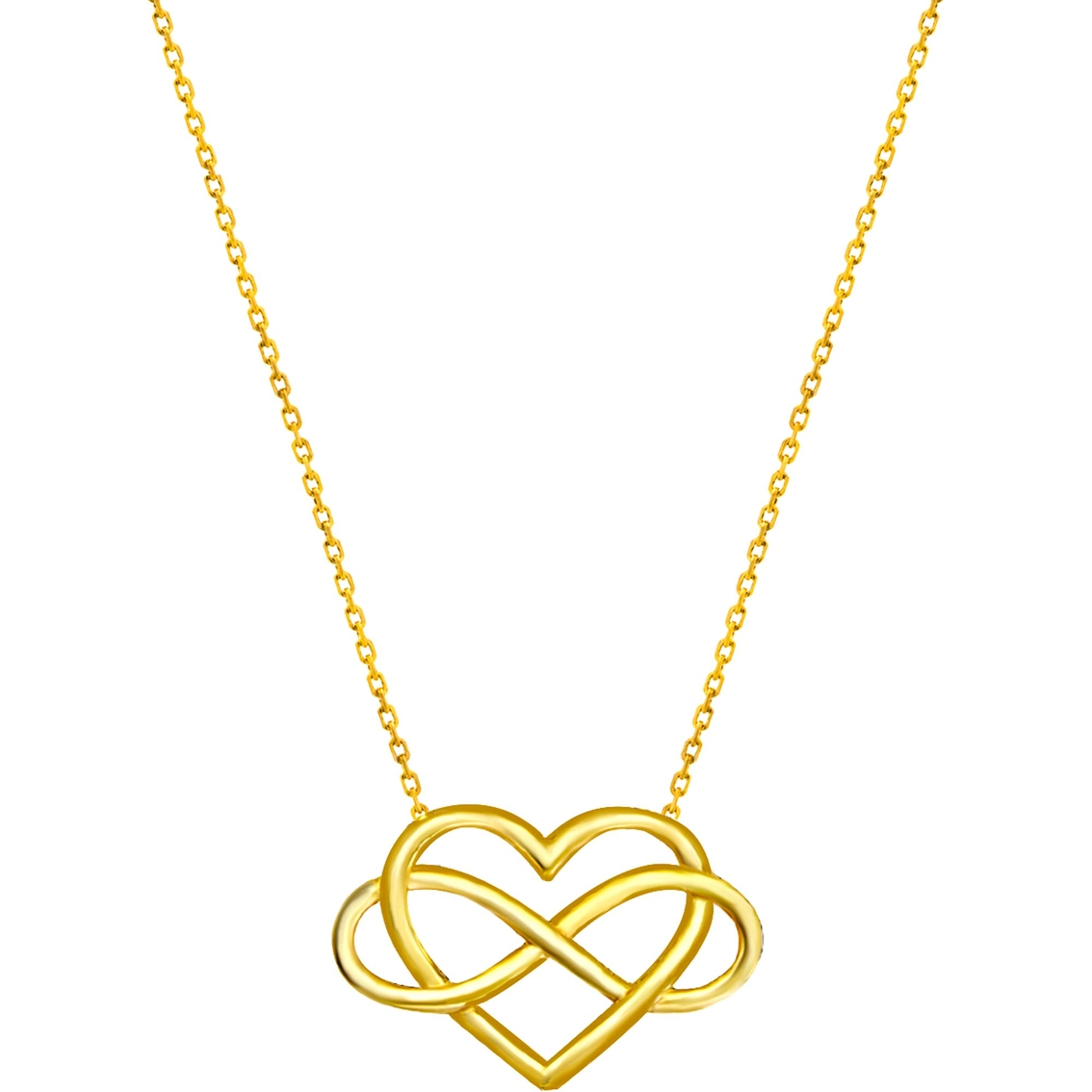 14K Yellow Gold E2W Infinity in Heart Necklace