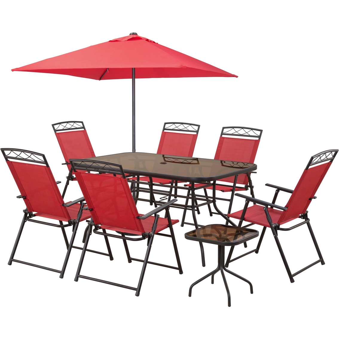 Tremendous Courtyard Creations Arrowhead 9 Pc Sling Folding Set Machost Co Dining Chair Design Ideas Machostcouk