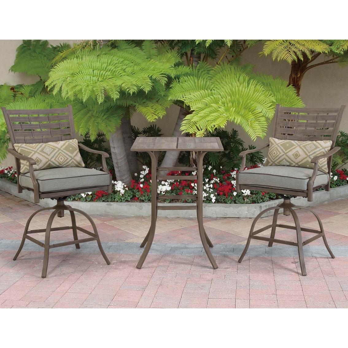 Courtyard Creations Melrosa 3 Pc Stamp Cushion Balcony Set Patio