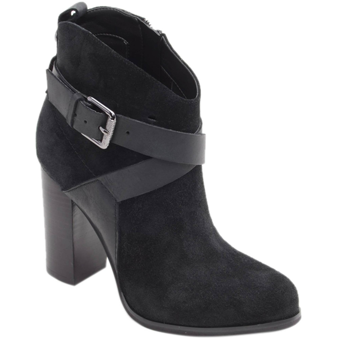 b7e800b0fb7b Guess Lora Stacked Heel X Strap Booties