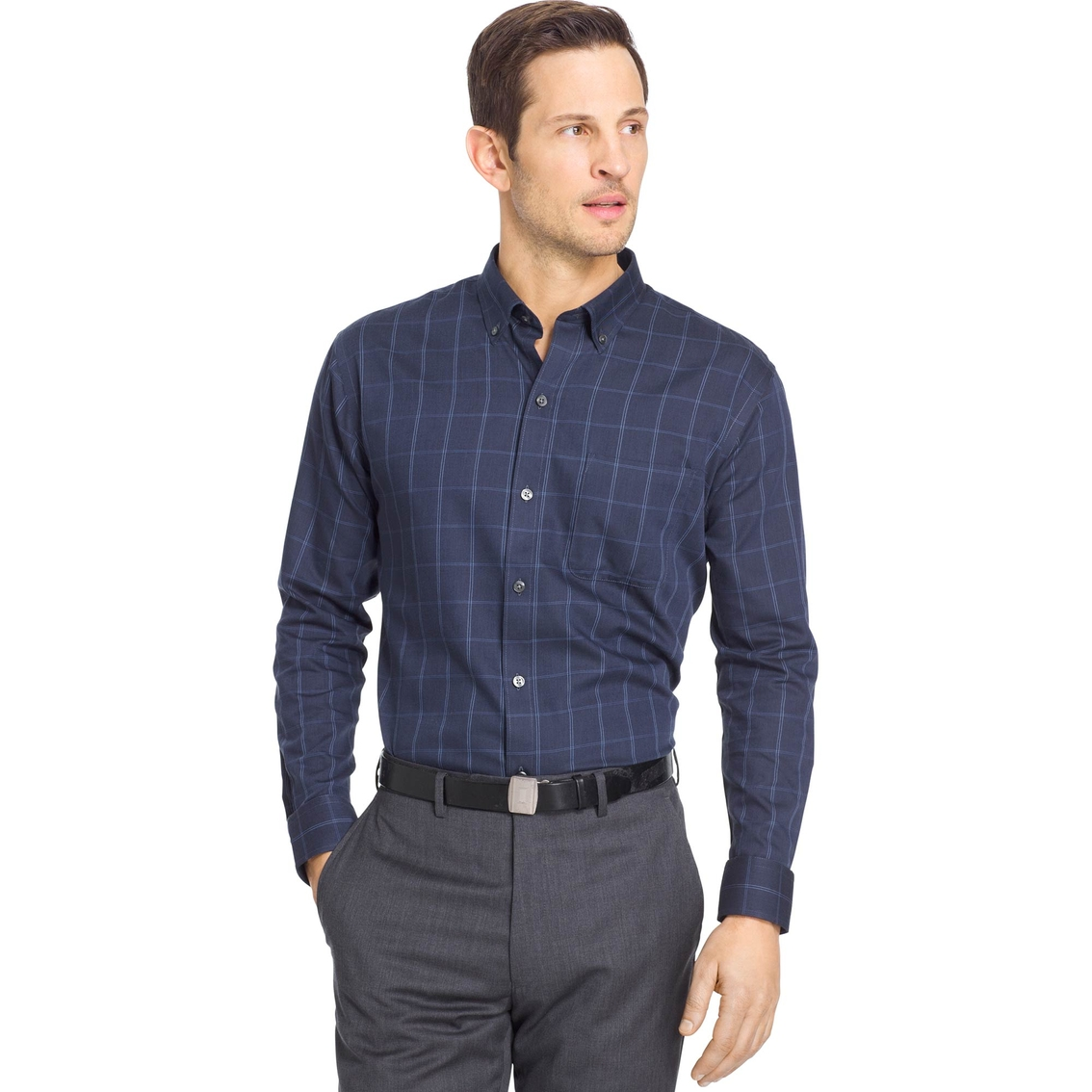 Van heusen windowpane premium non iron shirt casual for Van heusen non iron shirts