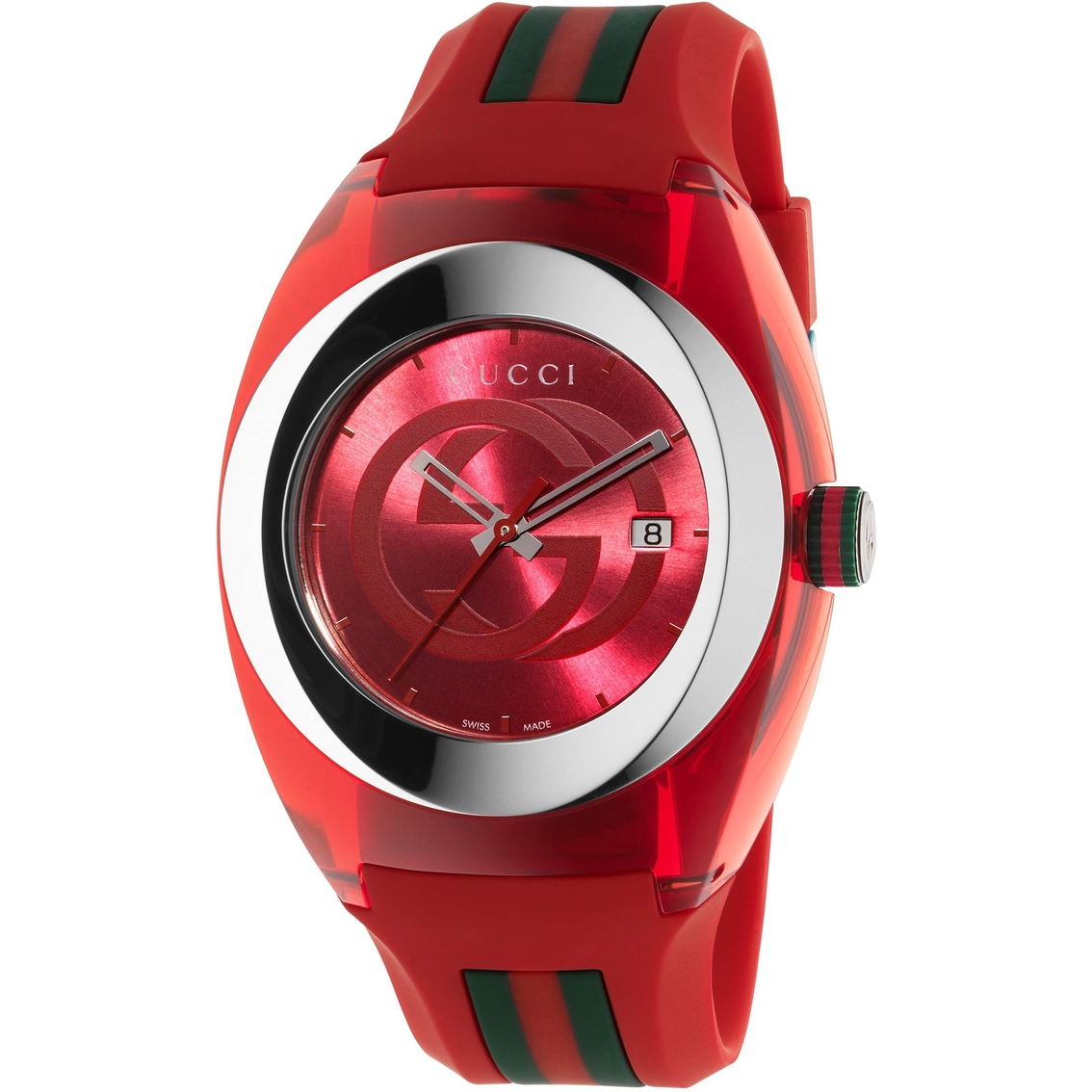 72439c715ce Gucci Men s Women s Sync Swiss Striped Red Rubber Strap Watch YA137103