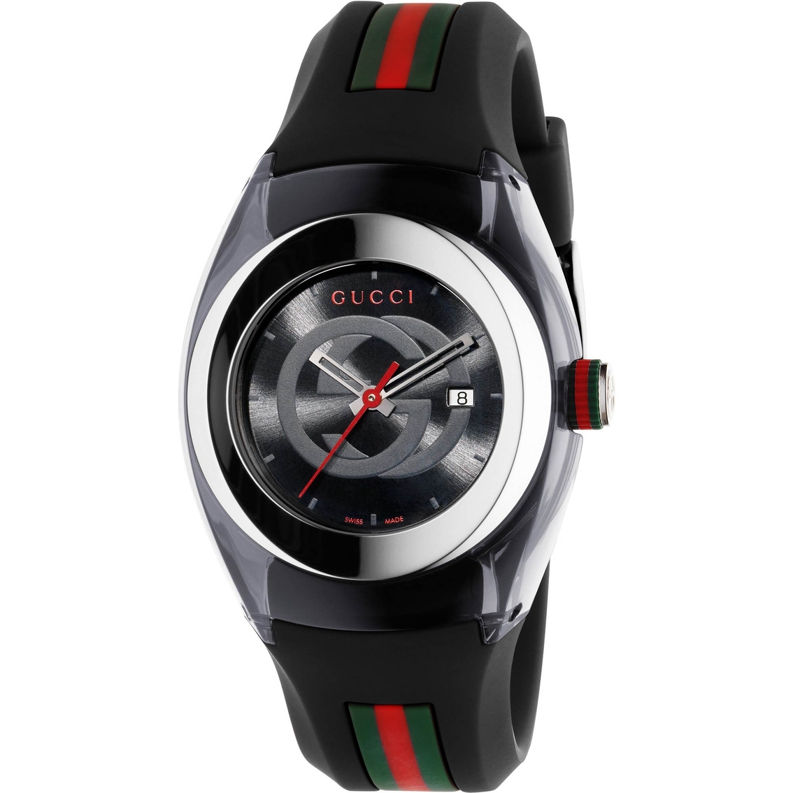 cb07c578a3f Gucci Sync Swiss Striped Black Rubber Strap 36mm Watch Ya137301 ...