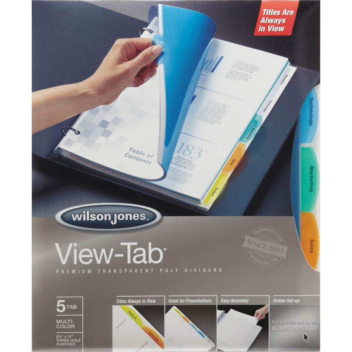 Wilson jones view tab transparent index dividers 5 tab for Templates wilson jones 8 tabs