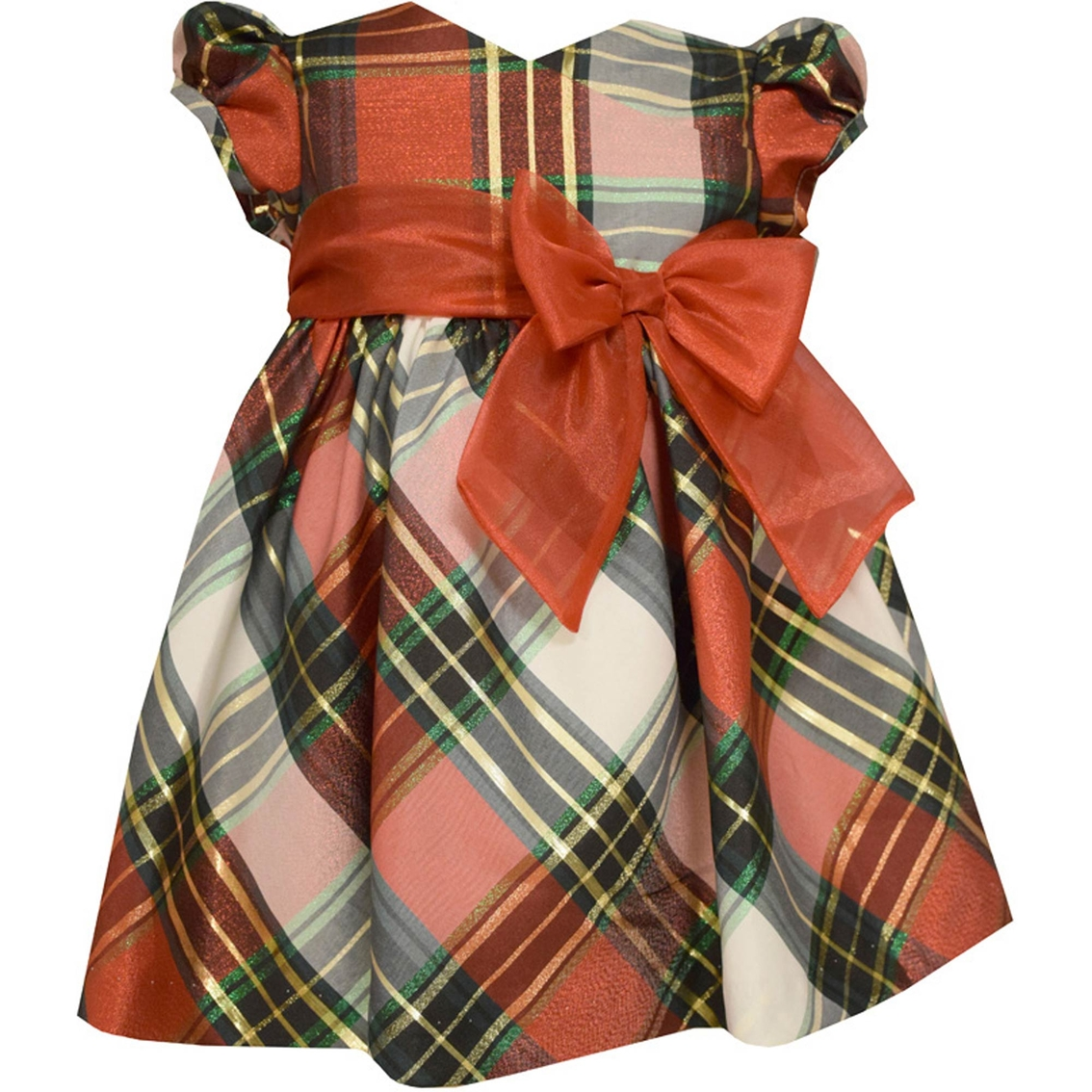 Bonnie Jean Infant Girls Christmas Plaid Crossover Dress